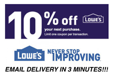 FIVE 5x Lowes 10% OFF Coupons Discount - Lowe's In store/online - Fast Delivery