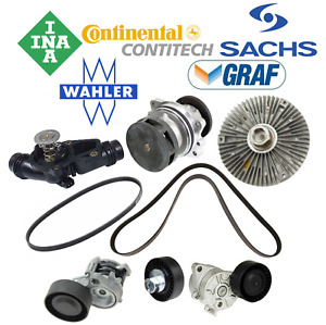 OEM Water Pump Thermostat Fan Clutch Belt Tensioner Drive Belt Kit BMW From 9/02