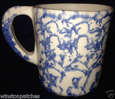 ROBINSON RANSBOTTOM SPONGEWARE BLUE MUG 16 OZ BLUE SPONGING ON TAN