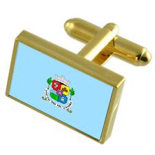 Sofia City Bulgaria Gold Flag Cufflinks Engraved Box