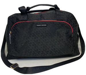 New Tommy Hilfiger 69J2015 001 Black Signature TH Extra Large Duffle Bag Travel