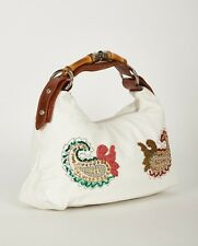 Ladies Stitch Decorated Beads High Quality Wooden & Faux Leather Handles Bag