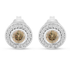 Champagne Diamond Stud Earrings Halo 14K White Gold 0.86 Ct Bezel And Micro Pave