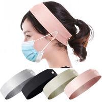 Women Fixed Nurses Hairband Plain Casual Buttons Wide Headband Face Mask