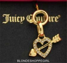 NWT Juicy Couture Mini Pave GOLD HEART With ARROW Love CHARM Crystals Necklace