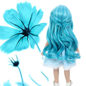 """Culry Blue Doll Wig for American Girls 18"""" Doll Synthetic Hair Girl Christmas"""