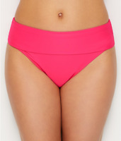 SUNSETS Hot Pink Fold-Over High-Waist Bikini Swim Bottom, US Medium, NWOT
