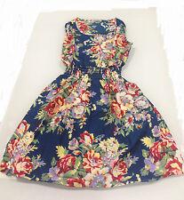 Women's Summer Blue & Colored Flower Dress - Size S/M