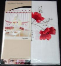 """Poppies Gingham Red Embroidered Pelmet to Match Kitchen Curtains 136 X 10"""""""