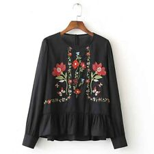 Flared Floral Leaf Embroidery Blouse Top White Black Women Outfit Fashion