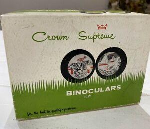 CROWN Supreme VTG 8x30 Binoculars Original Case Box Lens Caps No. 3082 Vintage