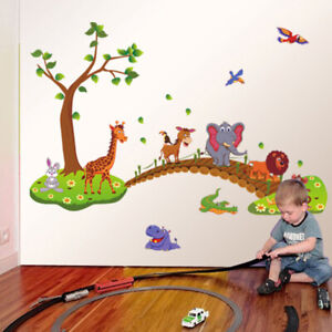 REMOVABLE ANIMAL JUNGLE ZOO ELEPHANT WALL STICKER  BABY KIDS CHILDREN  ROOM
