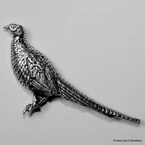 Standing Pheasant Pewter Pin Brooch - British Hand Crafted - Shooting Game Bird