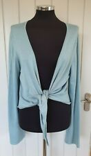 Long Tall Sally aqua blue tie front cardigan size large plus tall long sleeve