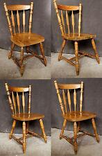 Set of 4 Vintage Spindle Back Windsor Wood Wooden Dining Room Kitchen Side Chair