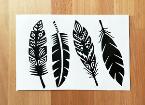 4 FEATHERS TRIBAL STICKERS STICKY DECALS CAR VAN BUMPER LAPTOP