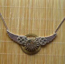 steampunk gothic punk pendant chain watch parts clock gear wings men jewelry