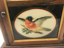 Vintage SETH THOMAS Wall CLOCK Birds REVERSE PAINTING Cathedral Style