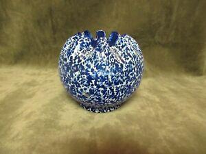 Ca 1910 Dugan Art Glass Cobalt Blue w/White Frit Surface Crimped Rose Bowl Vase