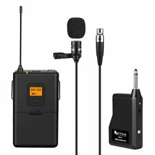 Fifine 25-Channel UHF Wireless Lavalier Lapel Microphone System with Bodypack Tr