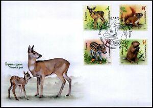 2021 Belarus, baby animals, beaver, deer, wild boar, squirrel, FDC