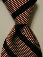 FACONNABLE Men's Silk/Cotton Necktie FRANCE Luxury STRIPED Red/White/Blue EUC