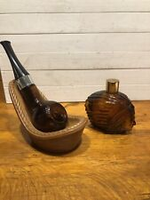 New listing Lot Of 2 Vintage Avon Perfume Bottles Pipe & Pipe Tray & Indian