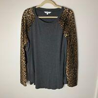 Amaryllis Women's Top Size 2X Animal Print Long Sleeves Casual Raglan Gray Black