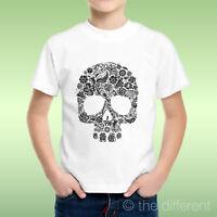 T-Shirt bébé Garçon Crâne Tete De Mort Motif à Fleurs fleurs Idée Cadeau