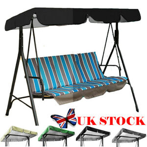 3 Seaters Garden Swing Chair Canopy Replacement Spare Seat Cover Waterproof UK