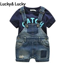 Bebes newborn clothes cotton letter printed t-shirt with demin overalls baby boy