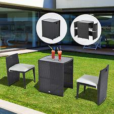 Outsunny 3Pc Rattan Wicker Dining Set Patio Furniture Bistro Cushioned Garden
