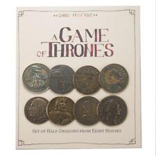 Game of Thrones Münzen : 8 Häuser Set - Halbe Drachen