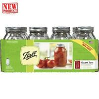 12 PACK 32 oz Smooth Glass Mason Quart Jars with Lids and Bands Regular Mouth
