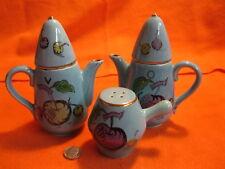 Blue Tea Coffee Pot Condiment Set Salt and Pepper Oil & Vinegar Extra Shaker