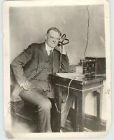 Original 1928 Political Press Photo President Herbert Hoover Sits w / Radio