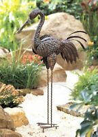 Large Rustic Garden Sculpture Metal Statue Garden Outdoor Bird Yard Art Decor