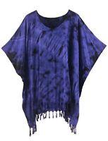 BeautyBatik Dark blue Womens BOHO HIPPIE Batik Tie Dye Plus Size Tunic Blouse