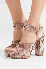 Chloe Graphic Leaves Crushed Velvet Platform Sandals $895 38