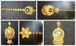 South Indian 22K Gold Plated Wedding Variation Different Pakistani Maang Tikka .