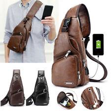 Men's Crossbody Bag USB Messenger Chest  Bag Leather Shoulder Travel Back Pack