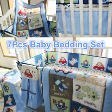 7Pcs Blue Nursery Baby Boy Bedding Crib Cot Set Quilt Bumper Sheet Blanket Cover