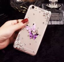 Handyhülle Iphone X Glitzer Case Bumper Cover Schmetterling Strass rosa