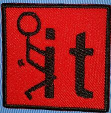 F*** it  motorcycle biker embroidered vest patch iron on black and red