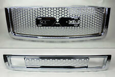 GMC Sierra 1500 Light Duty Punch Hole Chrome Front Upper Lower Bumper Hood Grill