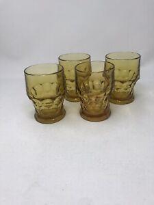 Vintage Amber Indiana Depression Glass Thumbprint Kings Crown Juice 4 Glasses