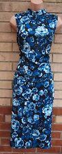 G21 BLACK BLUE FLORAL LONG NECK BANDAGE SET OF 2 BODYCON PENCIL PARTY DRESS L 14