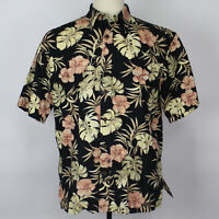 Cooke Street Camp Aloha Hawaiian Black Floral Shirt Cotton Men Sz Sz Medium EUC