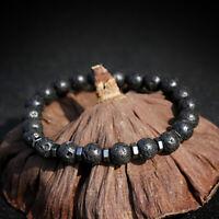 Fashion Natural Lava Stone Charm Wristband Bracelets Healing Bangle Men Jewelry