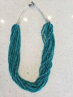 "$1,800 15 Strand Necklace Heshi VTG Turquoise Beads Sterling Silver 25"" 120 Gram"